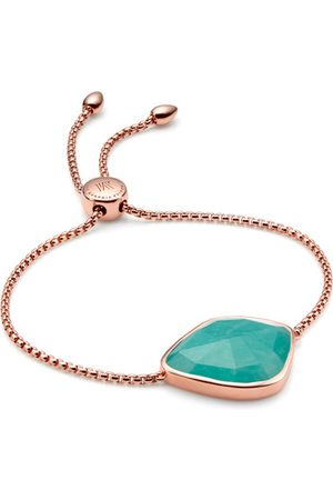 Monica Vinader Rose Gold Siren Nugget Cocktail Friendship Chain Bracelet Amazonite