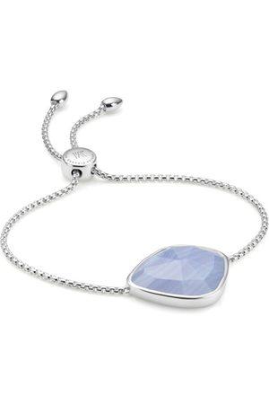 Monica Vinader Sterling Silver Siren Nugget Cocktail Friendship Chain Bracelet Blue Lace Agate