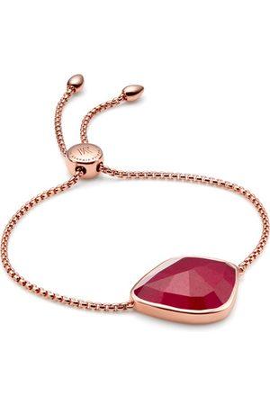 Monica Vinader Rose Gold Siren Nugget Cocktail Friendship Chain Bracelet Pink Quartz
