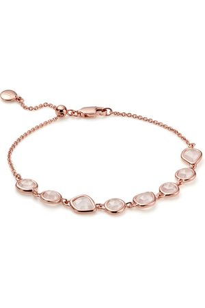 Monica Vinader Rose Gold Siren Mini Nugget Cluster Bracelet Rose Quartz