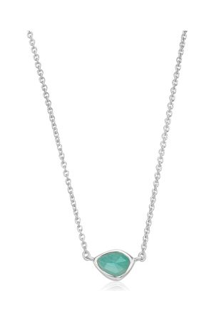 Monica Vinader Sterling Silver Siren Mini Nugget Necklace Amazonite