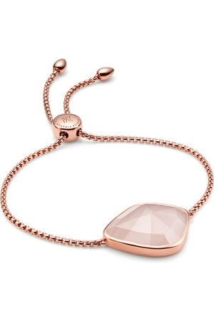 Monica Vinader Rose Gold Siren Nugget Cocktail Friendship Chain Bracelet Rose Quartz
