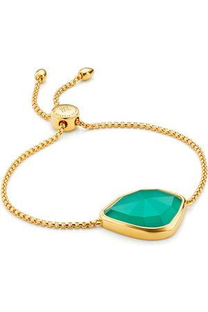 Monica Vinader Gold Siren Nugget Cocktail Friendship Chain Bracelet Green Onyx