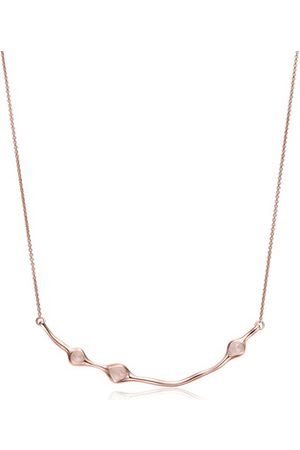 Monica Vinader Rose Gold Siren Cluster Smile Necklace Rose Quartz