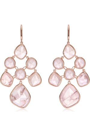 Monica Vinader Rose Gold Siren Chandelier Earrings Rose Quartz