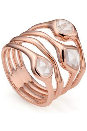 Monica Vinader Rose Gold Siren Cluster Cocktail Ring Rose Quartz