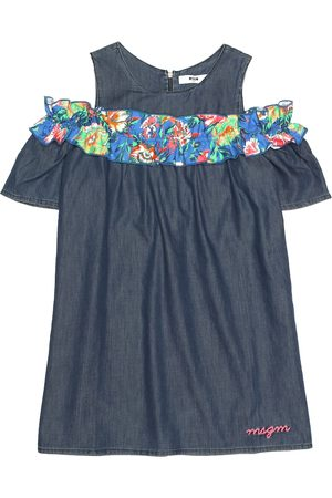 Msgm Ruffled chambray dress