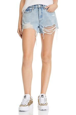 BLANK NYC High-Rise Destructed Denim Shorts in Acid Trip