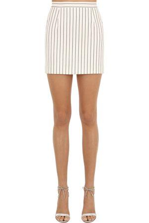 Alessandra Rich Embellished Cool Wool Mini Skirt