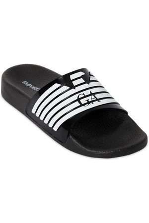 Armani Girls Sandals - Logo Printed Rubber Slide Sandals