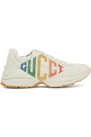 Gucci Women Sneakers - Rhyton Logo Low Top Leather Trainers - Womens - Ivory Multi