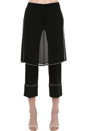 MARCO DE VINCENZO Embellished Pants W/ Skirt Panels