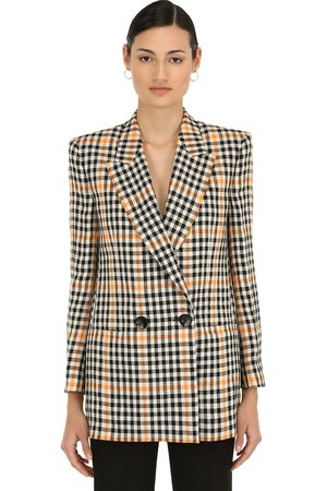 PETAR PETROV Double Breasted Check Linen Blazer