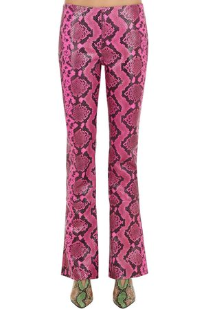 MARQUES'ALMEIDA Boot Cut Snake Printed Leather Pants