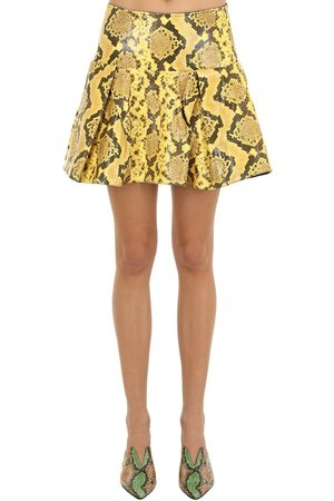 MARQUES'ALMEIDA Pleated Snake Print Leather Mini Skirt