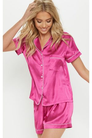 PRETTYLITTLETHING Fuchsia Short Satin Pyjama Set