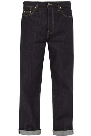 Raey Men Wide Leg - Raw Selvedge Denim Wide Leg Jeans - Mens - Indigo