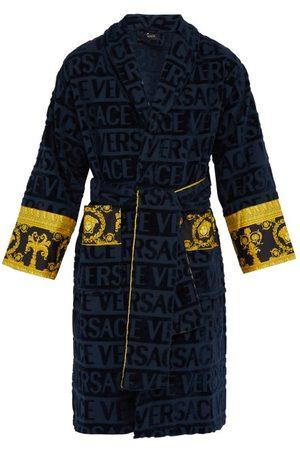 VERSACE Men Bathrobes - I Love Baroque Logo Jacquard Cotton Bathrobe - Mens - Navy