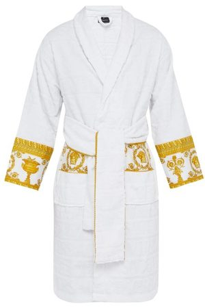 VERSACE I Love Baroque Logo Jacquard Cotton Bathrobe - Mens