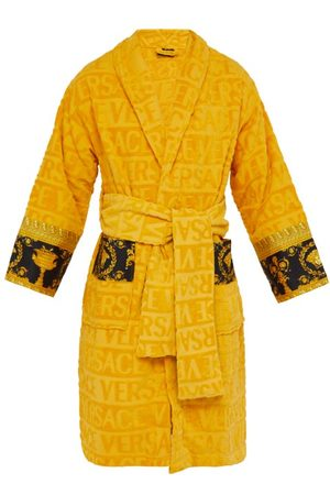 VERSACE Men Bathrobes - I Love Baroque Logo-jacquard Cotton Bathrobe - Mens