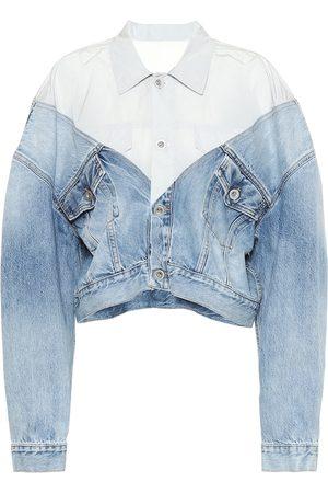 UNRAVEL Cropped denim and nylon jacket