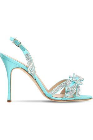 Alessandra Rich 105mm Embellished Satin Sandals
