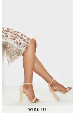 PRETTYLITTLETHING Nude Wide Fit Block Heeled Sandals