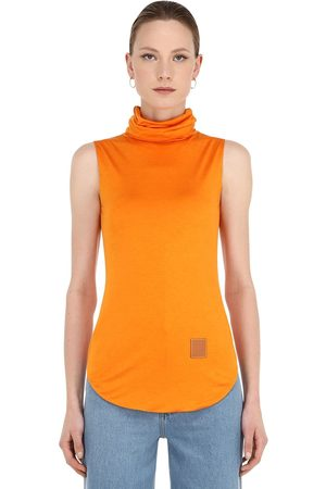 Loewe Women High Necks - Silk Blend Jersey Turtleneck Top