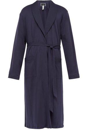 Hanro Men Bathrobes - Night & Day Cotton Robe - Mens - Navy