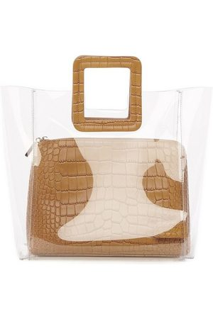 Staud Shirley Bag in Clear/Tan Faux Croc