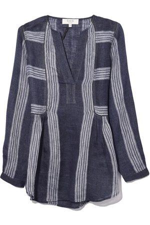 SEA Lyndee Linen Long Sleeve Shirt in Navy Multi