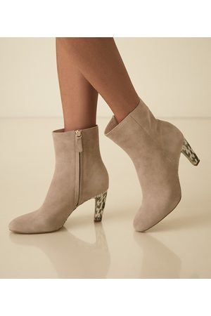 Reiss Women Ankle Boots - Sophia - Suede Ankle Boots With Snake Detail in Taupe, Womens