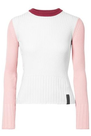 Kenzo Women Tops - Woman Color-block Ribbed Cotton And Cashmere-blend Top Size XS