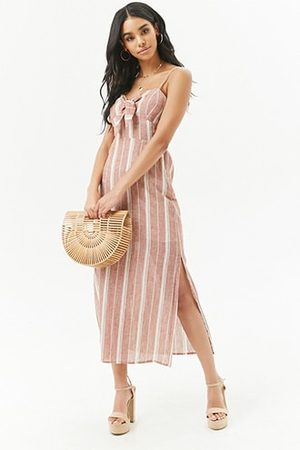 Forever 21 Striped Tie-Front Midi Dress