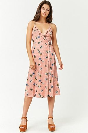 Forever 21 Floral Polka Dot Ruffle-Trim Wrap Dress