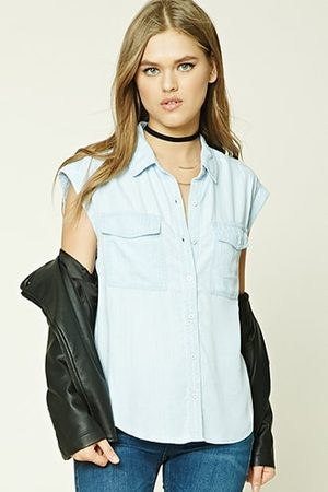 Forever 21 Striped Chambray Shirt