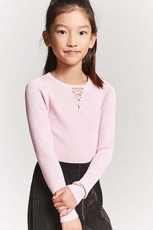 Forever 21 Girls Ribbed Knit Crisscross Cutout Sweater Top (Kids)