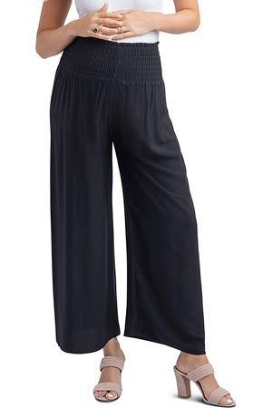 Nom Maternity Women Wide Leg Pants - Corsica Smocked Wide-Leg Maternity Pants