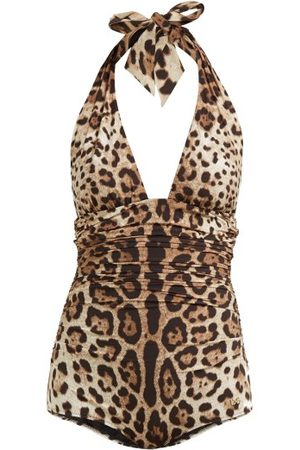 Dolce & Gabbana Women Swimsuits - Leopard-print Ruched-side Halterneck Swimsuit - Womens - Leopard