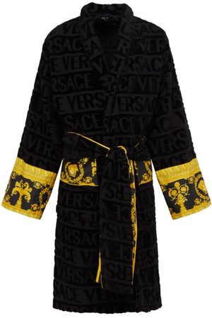 VERSACE I Love Baroque Logo-jacquard Cotton Bathrobe - Mens