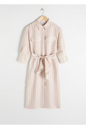 & OTHER STORIES Striped Puff Sleeve Midi Dress
