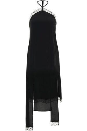 Rokh Silk-blend crêpe slip dress