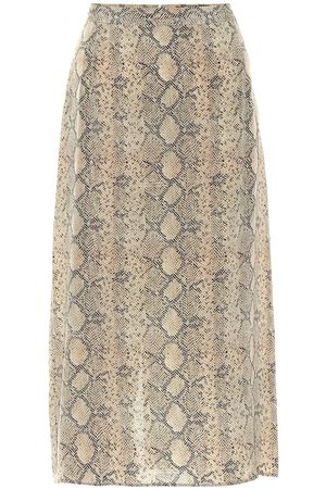 Rokh Printed silk crêpe de chine skirt