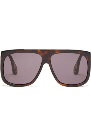 Gucci Aviator Square Frame Acetate Sunglasses - Mens - Tortoiseshell