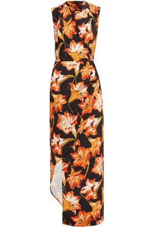 Raey Women Asymmetrical Dresses - Cowl-neck Asymmetric Lily-print Silk Dress - Womens - Print