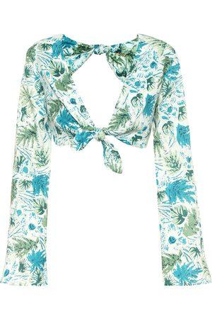 Cult Gaia Marina floral linen crop top