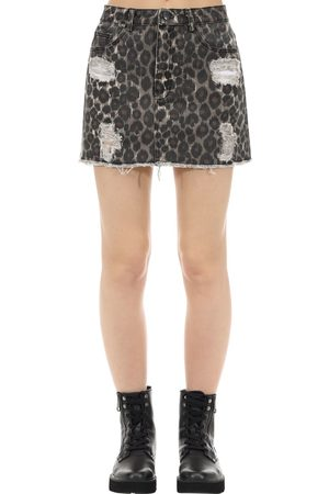 The People Vs Vixen Jaguar Print Cotton Denim Skirt