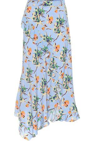 Etro Asymmetric floral crêpe midi skirt