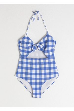 & OTHER STORIES Gingham Cutout Halter Swimsuit