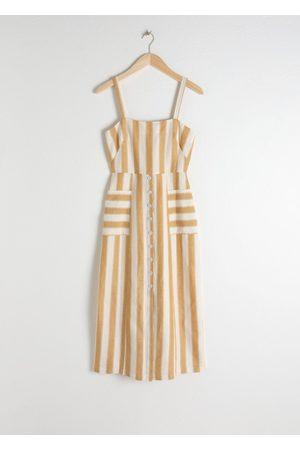 & OTHER STORIES Striped Cotton Linen Midi Dress